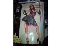 SILKY BLACK CAT WITH PINK TRIM FANCY DRESS OUTFIT 10/12 PARTY OR HEN DO