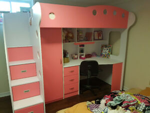 Pink Twin Bunk Bed, Desk, Wardrobe, Drawers and Mattress
