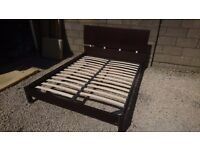 RED APPLE Rarely used Queen size solid wood bed with metal frame, no mattress