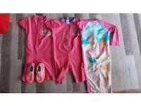 Girls 2-3 Yrs Swim Suit And Sizec5 Swim Shoes