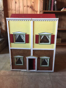 Antique Wooden Dolls house with furniture