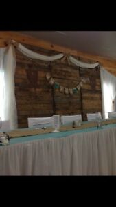 Beautiful rustic wood backdrop for wedding