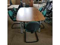 New ex warehouse boardroom conference meeting table in walnut with six free used chairs
