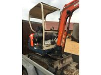 Kubota mini digger hire £70 per day. £225 per week
