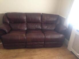 Brown electric leather sofa