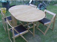 nice beech table and 4 chairs £45