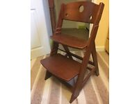 Solid wooden baby high chair - used