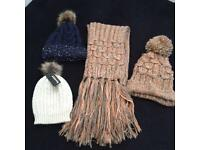 Knitted hats & scalf bundle