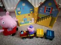 Peppa pig train, teddy and house