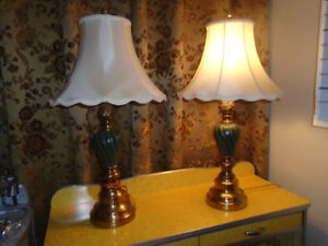 Set of Beautiful Green Linving Room Lamps!