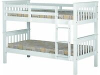 NEW strong white wooden bunk beds can be split into 2 singles in store now