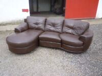 BROWN LEATHER THREE SEATER SOFA WITH SWIVEL SEAT AND LONG LOUNGER