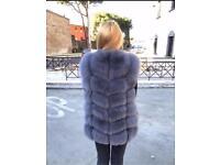 Genuine soft fuffly grey vest Fox Fur