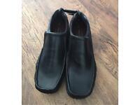 Black leather slip on shoes size 11
