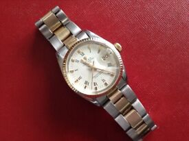 GENUINE ROLEX BI METAL GENTS OYSTER DATE PERPETUAL STEEL/GOLD FULLY SERVICED 1yr WARRANTY CREAM DIAL