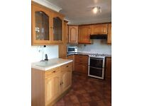 USED KITCHEN UNITS WITH SOLID WOOD DOORS, WORKTOPS SINK & TAPS INC