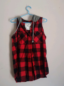 Plaid vest with hood