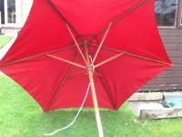 Red large Parasol.