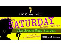 UK Open Mic | 7pm | EVERY SATURDAY @ The Green Man, Fitzrovia (Euston, Warren Street, Regent's Park)