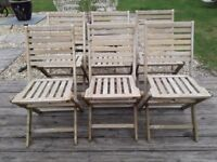 SET OF 6 TEAK FOLDING GARDEN CHAIRS GREAT CONDITION PATIO CONSERVATORY GARDEN EASY STORE AWAY
