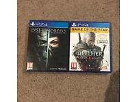 Dishonored 2 and Witcher 3 (GOTY Edition)