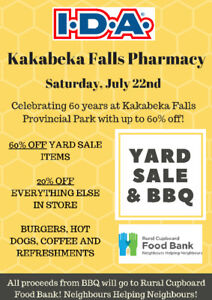 Kakabeka Falls IDA Pharmacy Yard Sale & BBQ! JULY 22ND