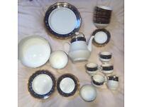 43 piece bone china navy blue and cream set bone china full tea set