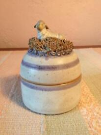 Ceramic sheep ornament / pot with lid