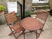 Bistro wooden garden table and two chairs