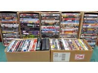 A large job lot of used DVDs.