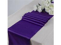 Cadburys purple Table runners x10 and 50 chair sashes wedding, party, special occasion