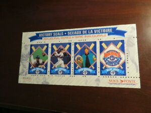 "Blue Jays Limited Edition Canada Post ""Victory Seals"" Sheet 1992"