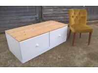 *FREE DELIVERY*Large Pine Ottoman Trunk Chest of Drawers Blanket Box Toy Storage Farrow & Ball White