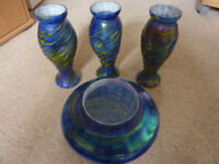 Very pretty set of three tall vases(7 inches in height)& one smaller wide vase(5 inches in height)t)