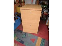 Beech wood style 2 drawer filing cabinet