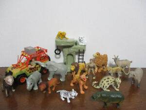 15 Beaux Animaux De La Jungle+Jeep Safari+2 Figurines+Rocher