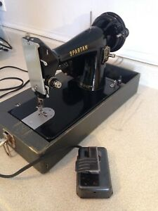 Vintage Singer Spartan 3/4 Size Portable Sewing Machine W/ Case