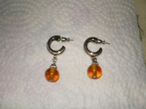 Silver & amber earrings - new condition