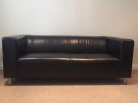 TWO BLACK LEATHER IKEA LARGE 2 SEATER SOFAS in very good condition. £80 each