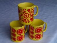 Vintage retro tea coffee mugs Staffordshire 1960s 1970s C&E Longton