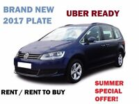 LONG TERM RENT / RENT TO BUY SHARAN SEL 2017 PLATE BRAND NEW UBER READY. £270 WITH INSURANCE