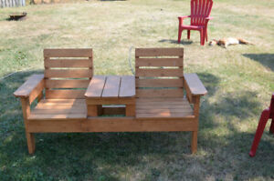 Patio Wood Two-Seater with Table-REDUCED PRICE