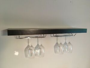 IKEA floating shelf with wine rack