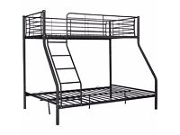 Metal Triple Bunk Bed Frame - Black