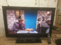 """for sale 32"""" ; hd lcd widescreen tv with freeview and remote £45"""