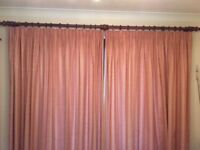 Wooden Curtain Pole (234cm) + 2 finials + 3 supports + rings + fixings