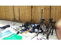 PHOTOGRAPHY EQUIPMENT BUNDLE (backdrop supports, backdrops, tripods, lights etc