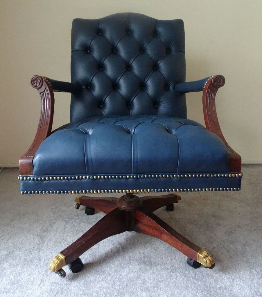 high quality blue leather vintage chesterfield captains office swivel chairbrass lion feet. high quality blue leather vintage chesterfield captains office