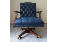 High Quality Blue Leather Vintage Chesterfield Captains Office Swivel Chair Brass Lion Feet