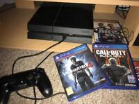 PS4 two games unchartered 4 and black ops 3 with box and receipt